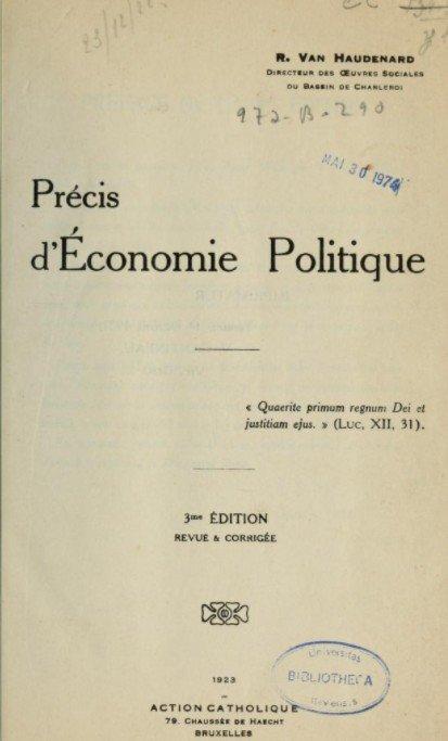 René Van Haudenard, Précis d'Economie Sociale
